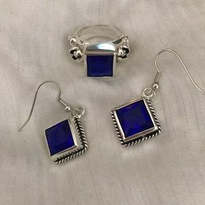 Jewelry - Blue and Silver earrings and ring set